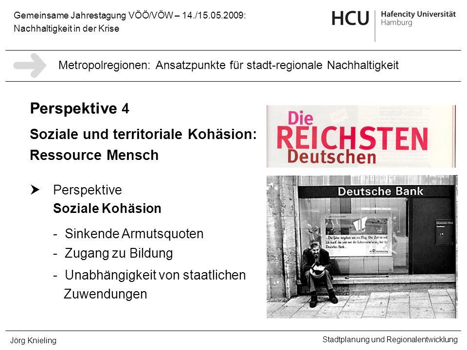 Gemeinsame Jahrestagung VÖÖ/VÖW – 14./15.05.2009: Nachhaltigkeit in der Krise Stadtplanung und Regionalentwicklung Jörg Knieling Perspektive 4 Soziale