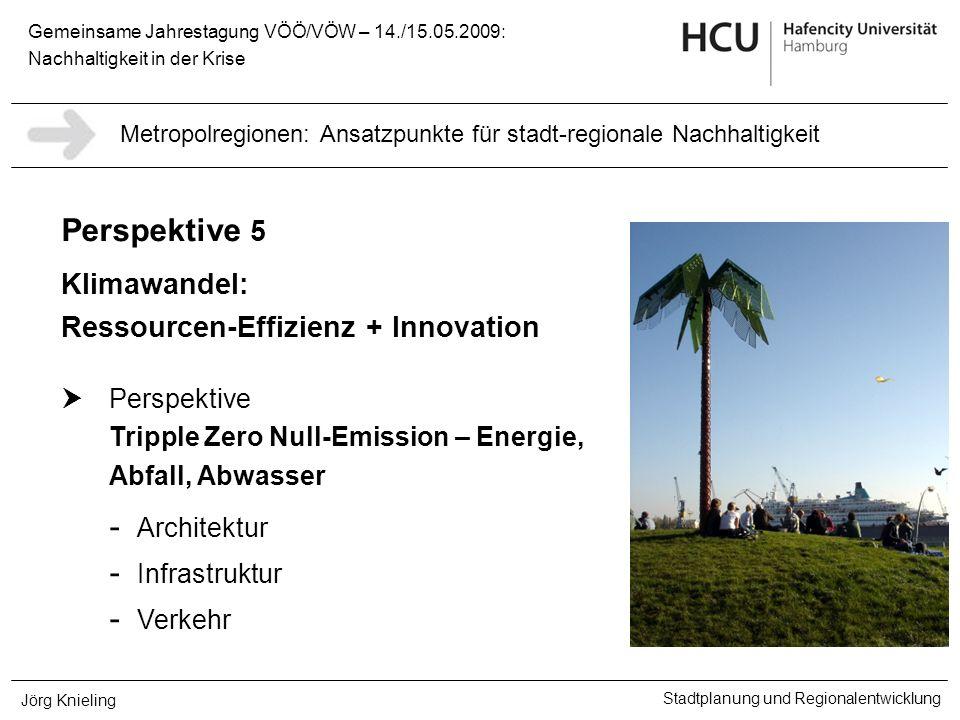Gemeinsame Jahrestagung VÖÖ/VÖW – 14./15.05.2009: Nachhaltigkeit in der Krise Stadtplanung und Regionalentwicklung Jörg Knieling Perspektive 5 Klimawa