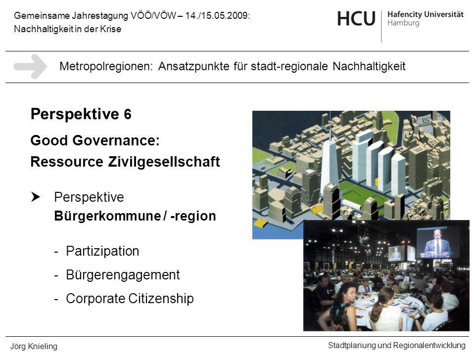 Gemeinsame Jahrestagung VÖÖ/VÖW – 14./15.05.2009: Nachhaltigkeit in der Krise Stadtplanung und Regionalentwicklung Jörg Knieling Perspektive 6 Good Go