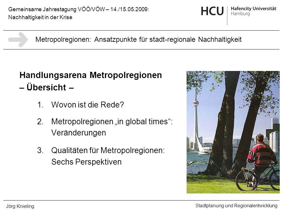 Gemeinsame Jahrestagung VÖÖ/VÖW – 14./15.05.2009: Nachhaltigkeit in der Krise Stadtplanung und Regionalentwicklung Jörg Knieling Handlungsarena Metrop