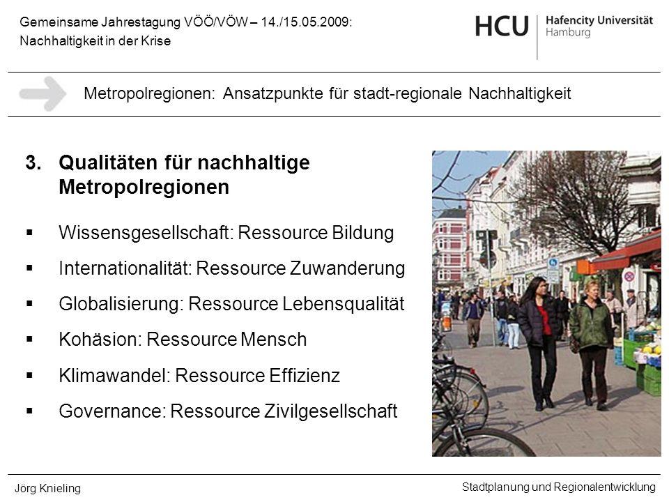 Gemeinsame Jahrestagung VÖÖ/VÖW – 14./15.05.2009: Nachhaltigkeit in der Krise Stadtplanung und Regionalentwicklung Jörg Knieling 3.Qualitäten für nach
