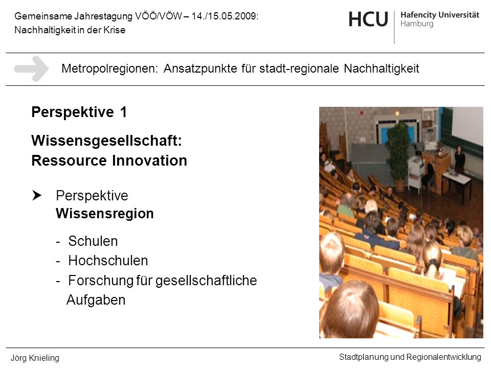Gemeinsame Jahrestagung VÖÖ/VÖW – 14./15.05.2009: Nachhaltigkeit in der Krise Stadtplanung und Regionalentwicklung Jörg Knieling Perspektive 1 Wissens
