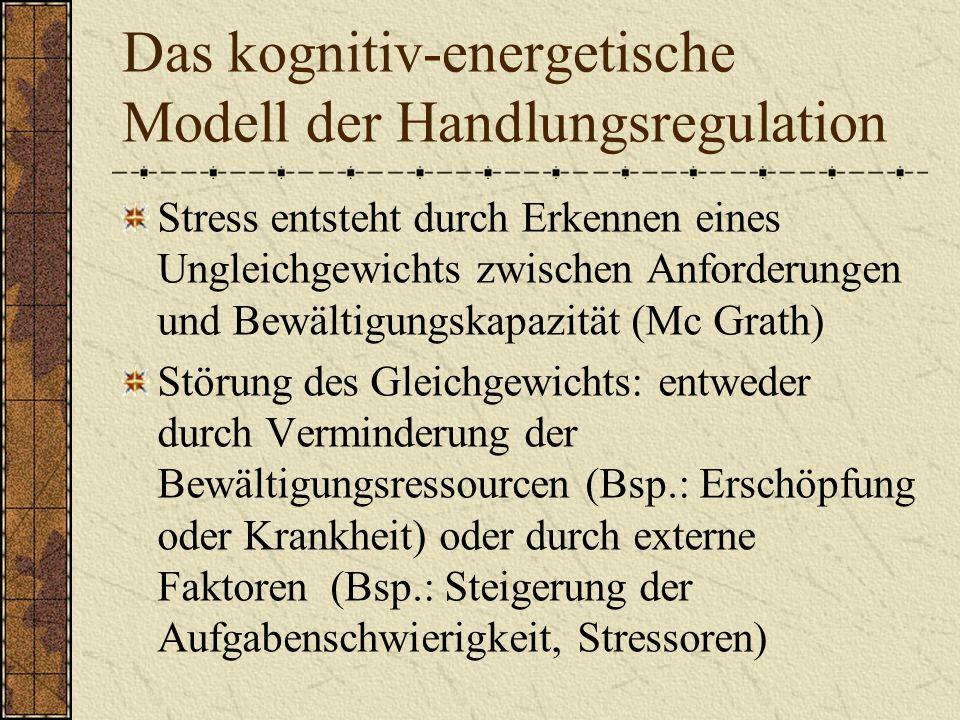 Das kognitiv-energetische Modell der Handlungsregulation Stress entsteht durch Erkennen eines Ungleichgewichts zwischen Anforderungen und Bewältigungskapazität (Mc Grath) Störung des Gleichgewichts: entweder durch Verminderung der Bewältigungsressourcen (Bsp.: Erschöpfung oder Krankheit) oder durch externe Faktoren (Bsp.: Steigerung der Aufgabenschwierigkeit, Stressoren)
