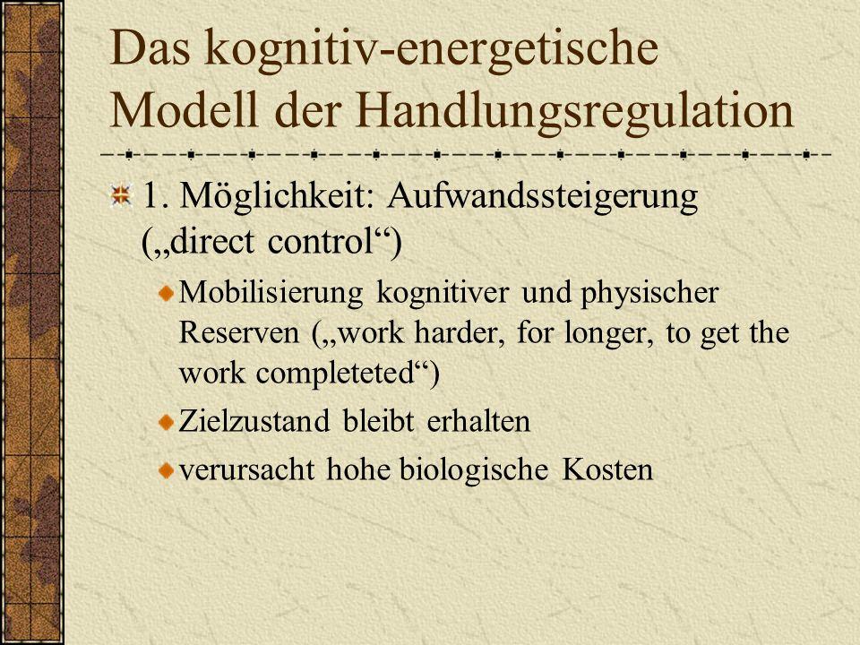Das kognitiv-energetische Modell der Handlungsregulation 1.