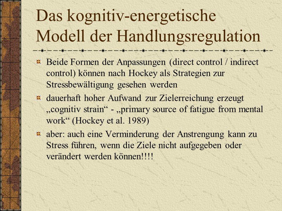Das kognitiv-energetische Modell der Handlungsregulation Beide Formen der Anpassungen (direct control / indirect control) können nach Hockey als Strategien zur Stressbewältigung gesehen werden dauerhaft hoher Aufwand zur Zielerreichung erzeugt cognitiv strain - primary source of fatigue from mental work (Hockey et al.