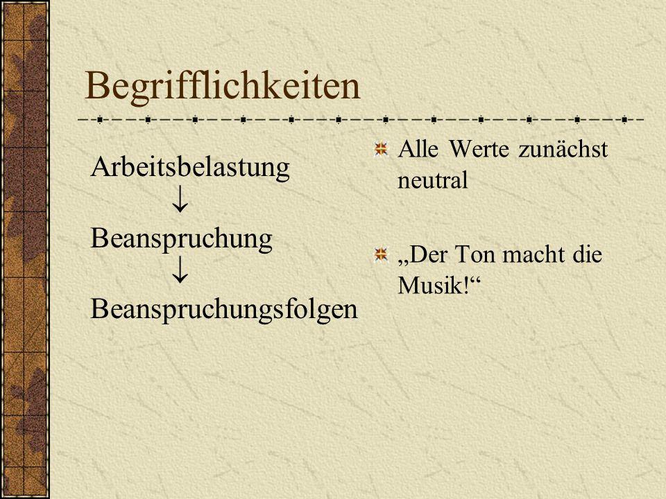 Begrifflichkeiten Arbeitsbelastung Beanspruchung Beanspruchungsfolgen Alle Werte zunächst neutral Der Ton macht die Musik!