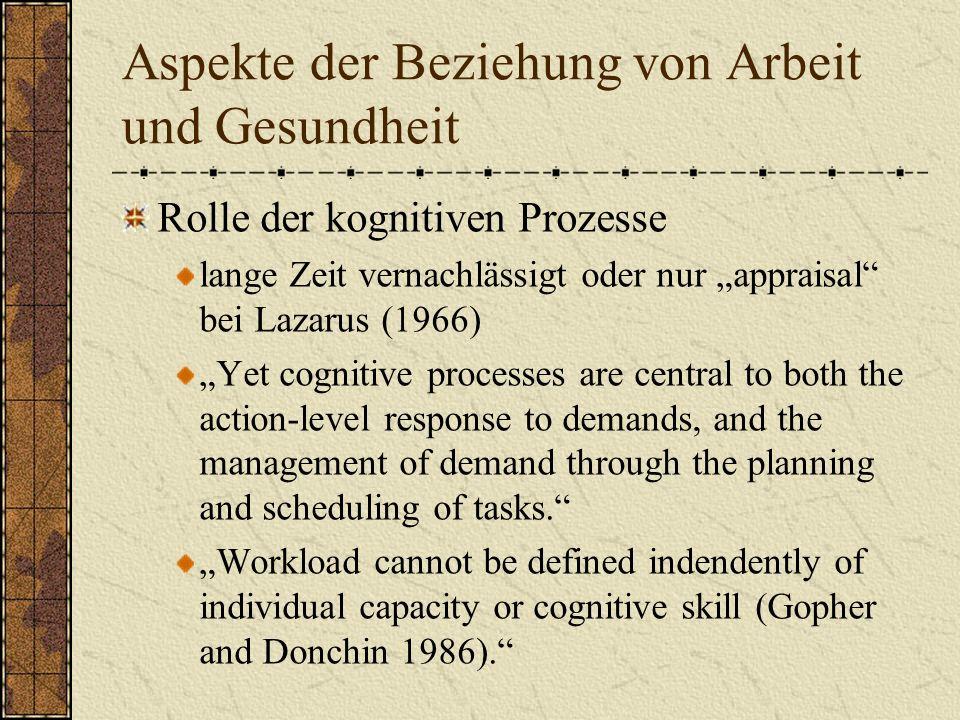 Aspekte der Beziehung von Arbeit und Gesundheit Anforderungen Kontrollierbarkeit Kognitive Prozesse / Fähigkeiten bilden die Ausgangspunkte für die Analyse der Auswirkungen von Arbeit auf psychische Gesundheit