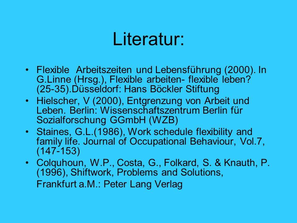Literatur: Flexible Arbeitszeiten und Lebensführung (2000). In G.Linne (Hrsg.), Flexible arbeiten- flexible leben? (25-35).Düsseldorf: Hans Böckler St