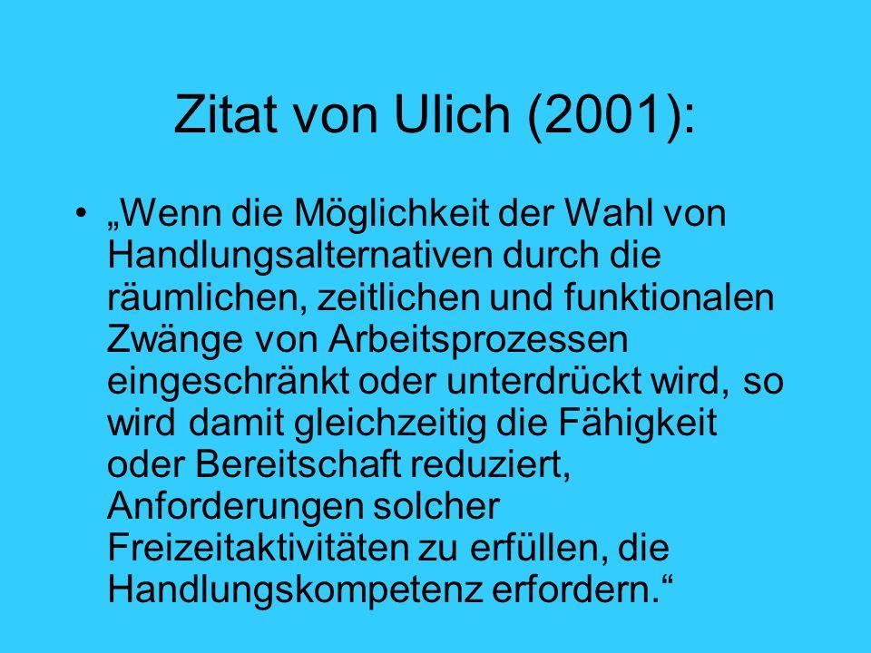 Zitat von Ulich (2001): Wenn die Möglichkeit der Wahl von Handlungsalternativen durch die räumlichen, zeitlichen und funktionalen Zwänge von Arbeitspr