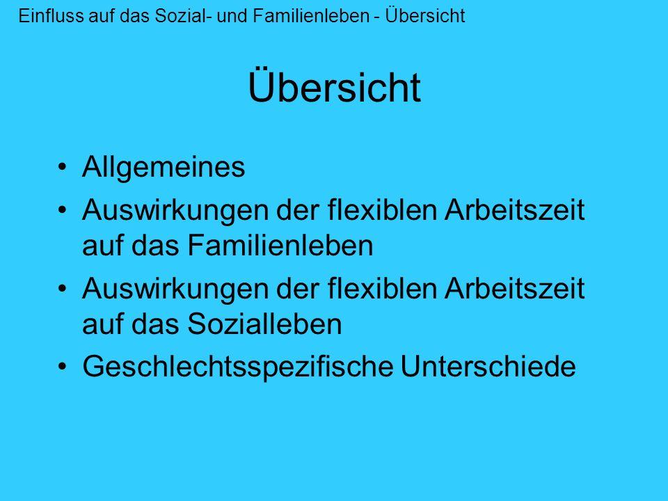 Übersicht Allgemeines Auswirkungen der flexiblen Arbeitszeit auf das Familienleben Auswirkungen der flexiblen Arbeitszeit auf das Sozialleben Geschlec