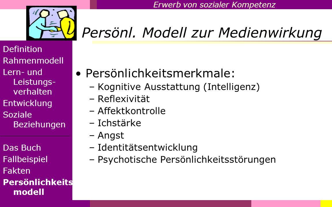 Erwerb von sozialer Kompetenz Persönl. Modell zur Medienwirkung Definition Rahmenmodell Lern- und Leistungs- verhalten Entwicklung Soziale Beziehungen