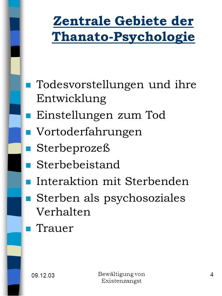 09.12.03 Bewältigung von Existenzangst 4 Zentrale Gebiete der Thanato-Psychologie n Todesvorstellungen und ihre Entwicklung n Einstellungen zum Tod n