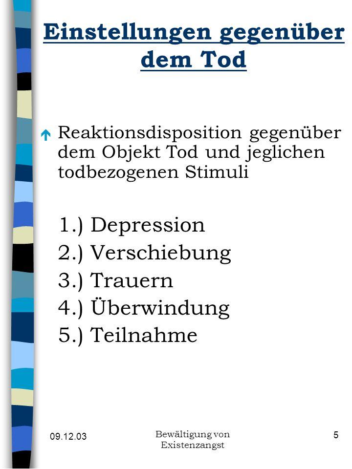09.12.03 Bewältigung von Existenzangst 16 Erfassung von Todesfurcht n Alexander et al.