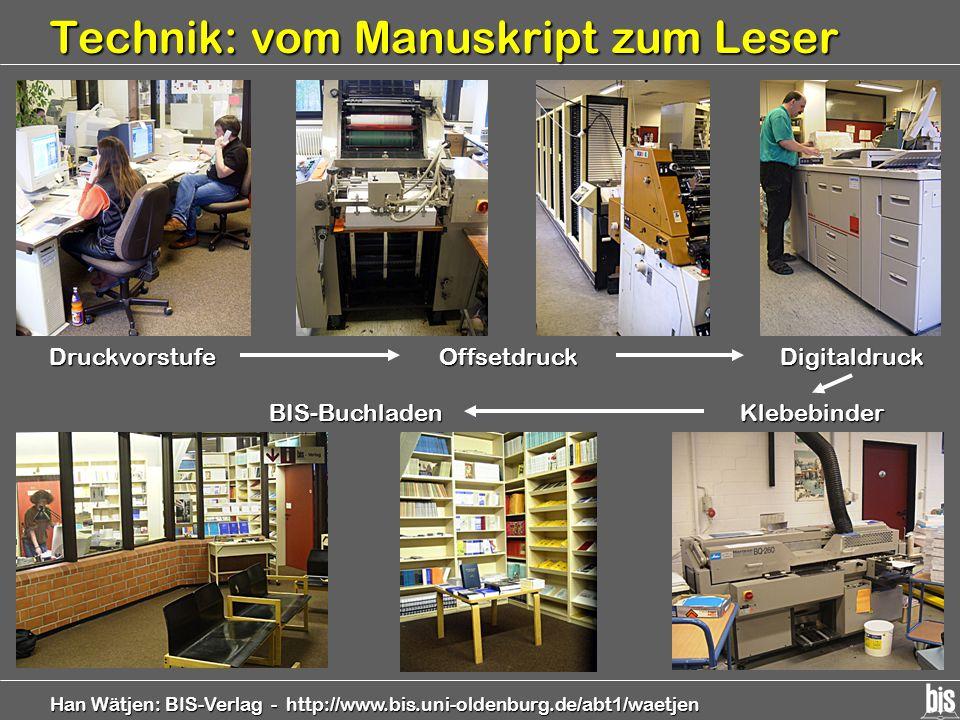 Han Wätjen: BIS-Verlag - http://www.bis.uni-oldenburg.de/abt1/waetjen Technik: vom Manuskript zum Leser Druckvorstufe Klebebinder BIS-Buchladen Digita