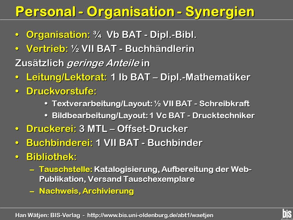 Han Wätjen: BIS-Verlag - http://www.bis.uni-oldenburg.de/abt1/waetjen Personal - Organisation - Synergien Organisation: ¾ Vb BAT - Dipl.-Bibl.Organisa