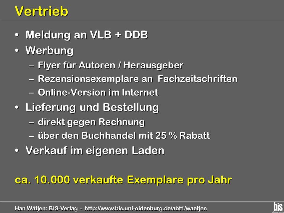 Han Wätjen: BIS-Verlag - http://www.bis.uni-oldenburg.de/abt1/waetjen Vertrieb Meldung an VLB + DDBMeldung an VLB + DDB WerbungWerbung –Flyer für Auto