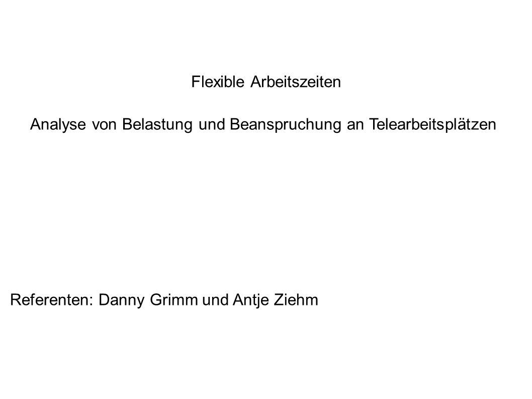 Flexible Arbeitszeiten Analyse von Belastung und Beanspruchung an Telearbeitsplätzen Referenten: Danny Grimm und Antje Ziehm