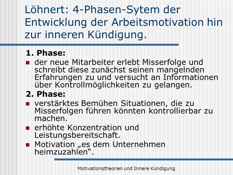 Motivationstheorien und Innere Kündigung Löhnert: 4-Phasen-Sytem der Entwicklung der Arbeitsmotivation hin zur inneren Kündigung. 1. Phase: der neue M