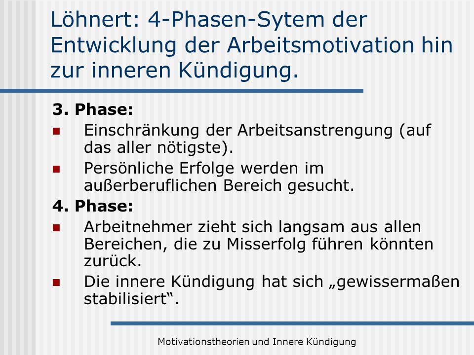 Motivationstheorien und Innere Kündigung Löhnert: 4-Phasen-Sytem der Entwicklung der Arbeitsmotivation hin zur inneren Kündigung. 3. Phase: Einschränk