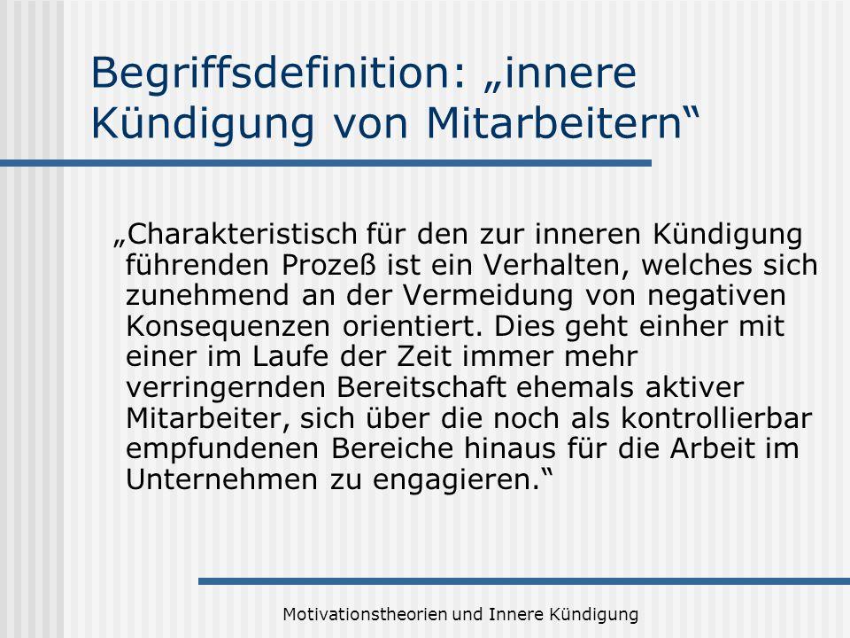 Motivationstheorien und Innere Kündigung Begriffsdefinition: innere Kündigung von Mitarbeitern Charakteristisch für den zur inneren Kündigung führende