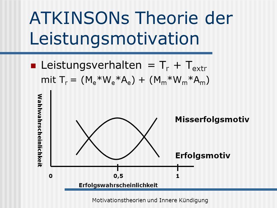 Motivationstheorien und Innere Kündigung ATKINSONs Theorie der Leistungsmotivation Leistungsverhalten = T r + T extr mit T r = (M e *W e *A e ) + (M m *W m *A m ) Erfolgsmotiv Misserfolgsmotiv Erfolgswahrscheinlichkeit 0,501 Wahlwahrscheinlichkeit