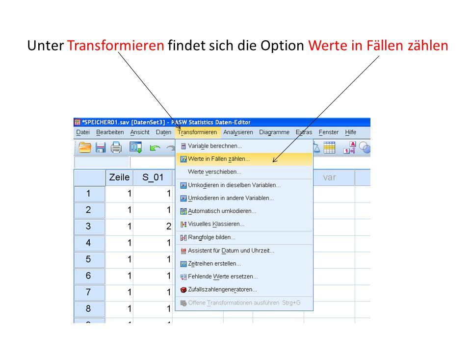 Unter Transformieren findet sich die Option Werte in Fällen zählen