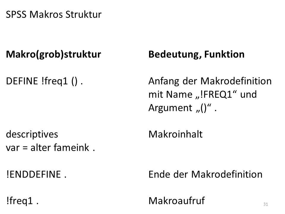 31 SPSS Makros Struktur Makro(grob)strukturBedeutung, Funktion DEFINE !freq1 ().Anfang der Makrodefinition mit Name !FREQ1 und Argument (). descriptiv