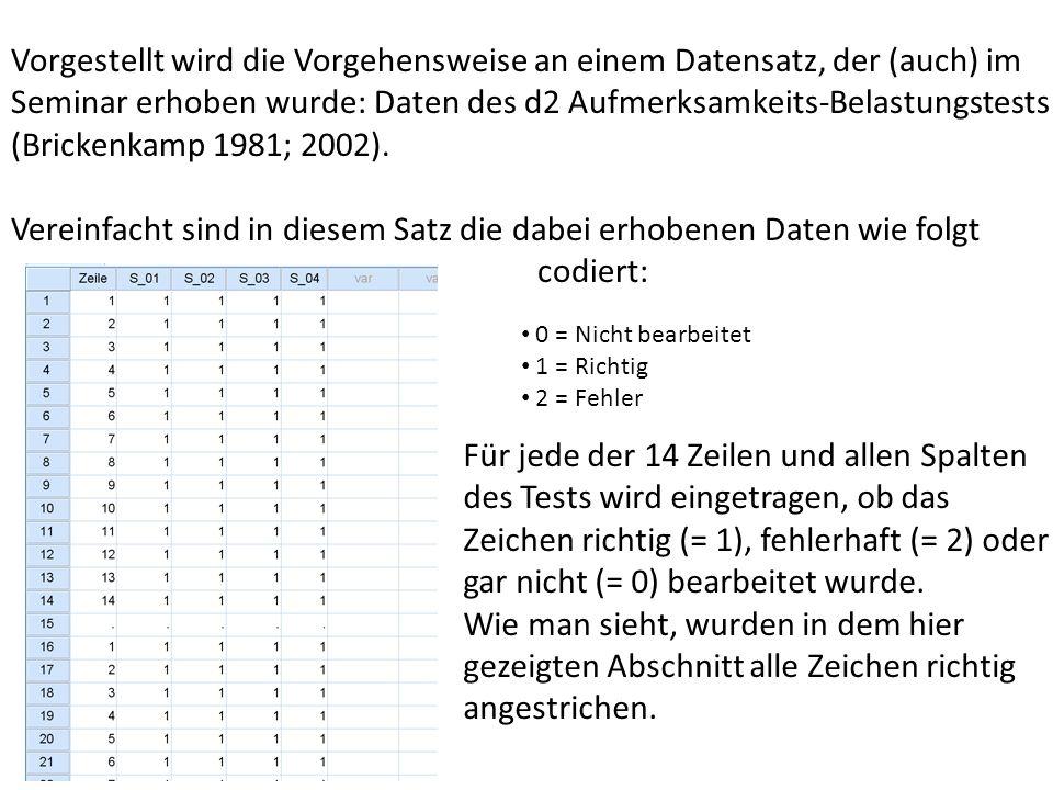 Vorgestellt wird die Vorgehensweise an einem Datensatz, der (auch) im Seminar erhoben wurde: Daten des d2 Aufmerksamkeits-Belastungstests (Brickenkamp