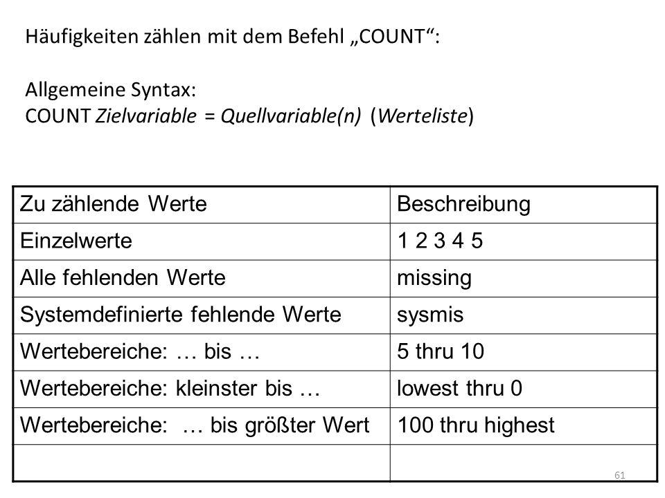 61 Häufigkeiten zählen mit dem Befehl COUNT: Allgemeine Syntax: COUNT Zielvariable = Quellvariable(n) (Werteliste) Zu zählende WerteBeschreibung Einze