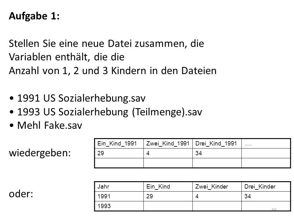 66 Aufgabe 1: Stellen Sie eine neue Datei zusammen, die Variablen enthält, die die Anzahl von 1, 2 und 3 Kindern in den Dateien 1991 US Sozialerhebung