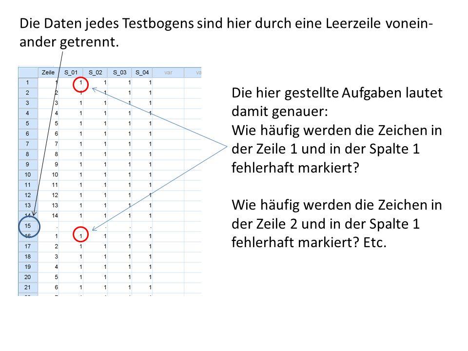 Die Daten jedes Testbogens sind hier durch eine Leerzeile vonein- ander getrennt. Die hier gestellte Aufgaben lautet damit genauer: Wie häufig werden
