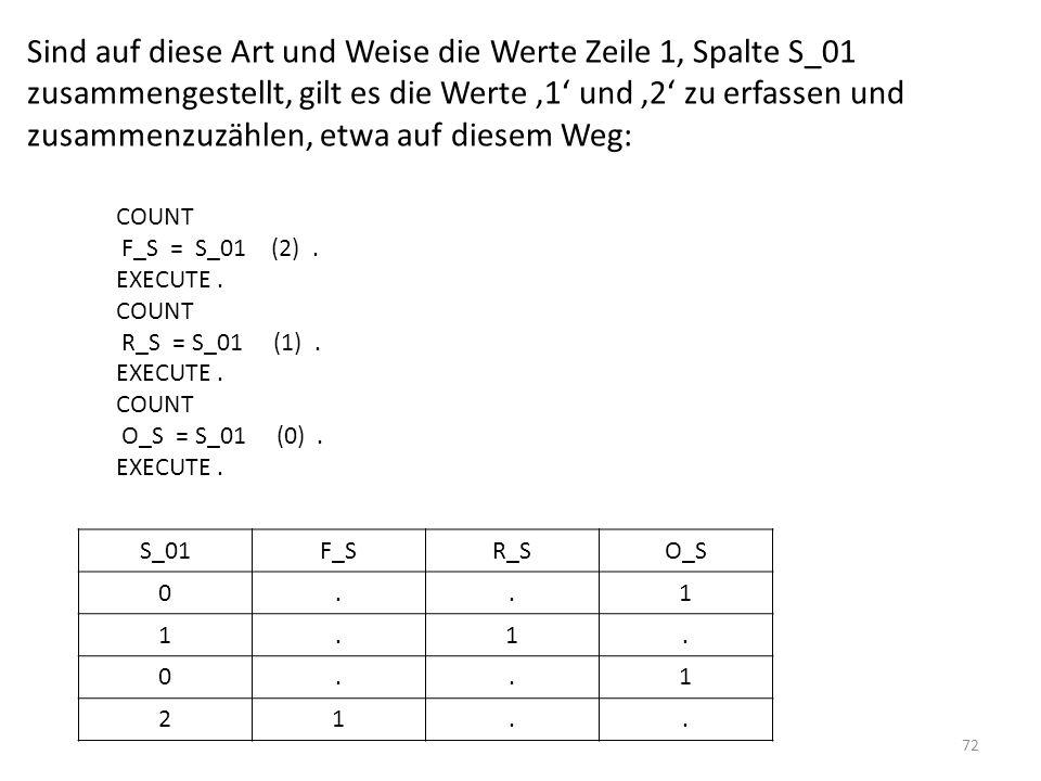 72 Sind auf diese Art und Weise die Werte Zeile 1, Spalte S_01 zusammengestellt, gilt es die Werte 1 und 2 zu erfassen und zusammenzuzählen, etwa auf