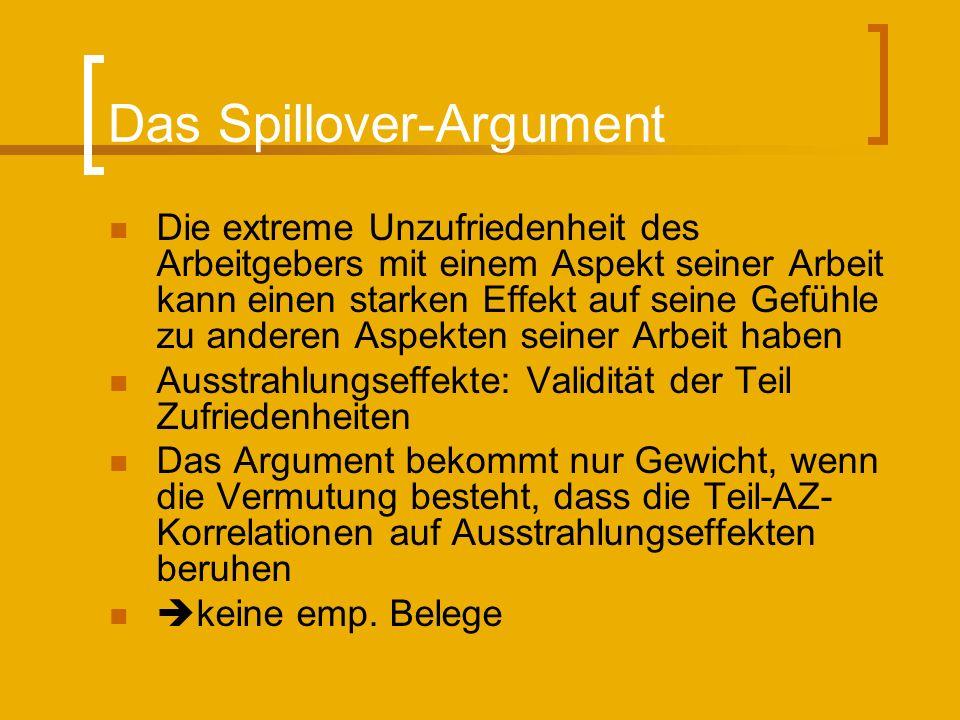 Das Spillover-Argument Die extreme Unzufriedenheit des Arbeitgebers mit einem Aspekt seiner Arbeit kann einen starken Effekt auf seine Gefühle zu ande