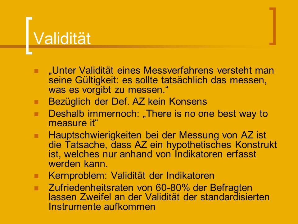 Validität Unter Validität eines Messverfahrens versteht man seine Gültigkeit: es sollte tatsächlich das messen, was es vorgibt zu messen. Bezüglich de