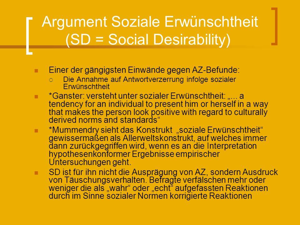 Argument Soziale Erwünschtheit (SD = Social Desirability) Einer der gängigsten Einwände gegen AZ-Befunde: Die Annahme auf Antwortverzerrung infolge sozialer Erwünschtheit *Ganster: versteht unter sozialer Erwünschtheit:...