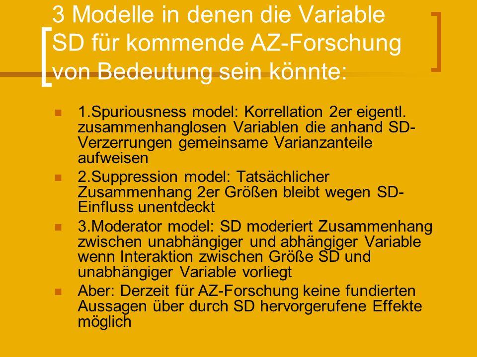 3 Modelle in denen die Variable SD für kommende AZ-Forschung von Bedeutung sein könnte: 1.Spuriousness model: Korrellation 2er eigentl. zusammenhanglo