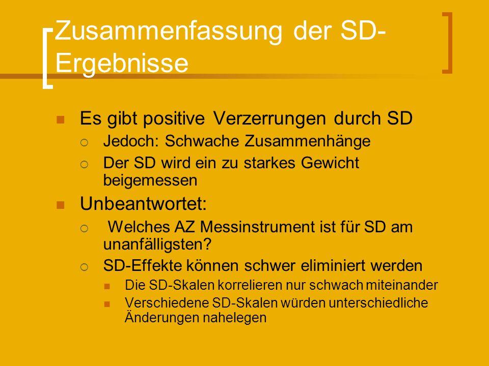 Zusammenfassung der SD- Ergebnisse Es gibt positive Verzerrungen durch SD Jedoch: Schwache Zusammenhänge Der SD wird ein zu starkes Gewicht beigemessen Unbeantwortet: Welches AZ Messinstrument ist für SD am unanfälligsten.