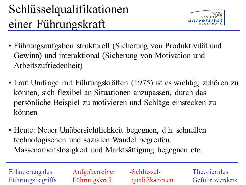 Erläuterung des Führungsbegriffs Aufgaben einer Führungskraft -Schlüssel- qualifikationen Theorien des Geführtwerdens Schlüsselqualifikationen einer F