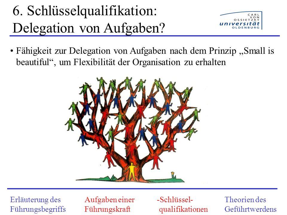 6. Schlüsselqualifikation: Delegation von Aufgaben? Fähigkeit zur Delegation von Aufgaben nach dem Prinzip Small is beautiful, um Flexibilität der Org