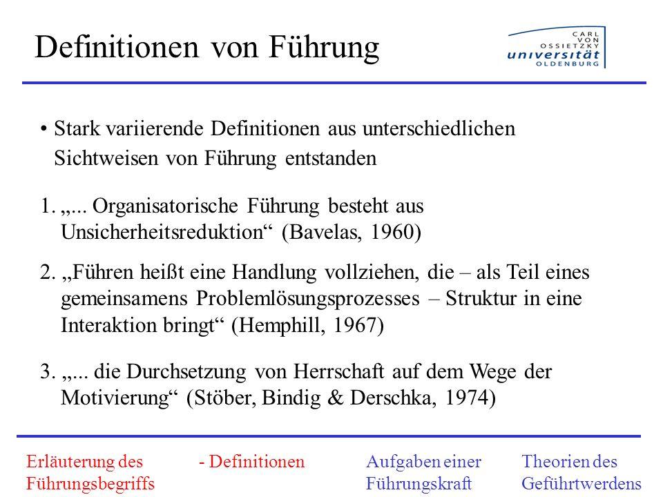 Erläuterung des Führungsbegriffs - DefinitionenAufgaben einer Führungskraft Theorien des Geführtwerdens Definitionen von Führung Stark variierende Def