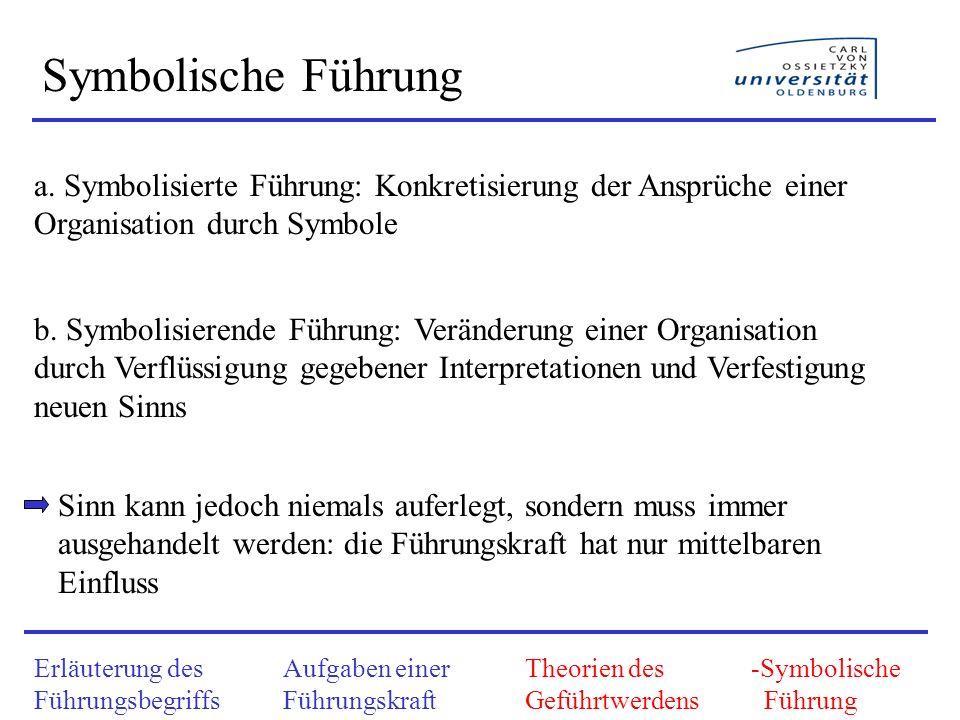 Erläuterung des Führungsbegriffs Aufgaben einer Führungskraft Theorien des Geführtwerdens -Symbolische Führung Symbolische Führung a. Symbolisierte Fü
