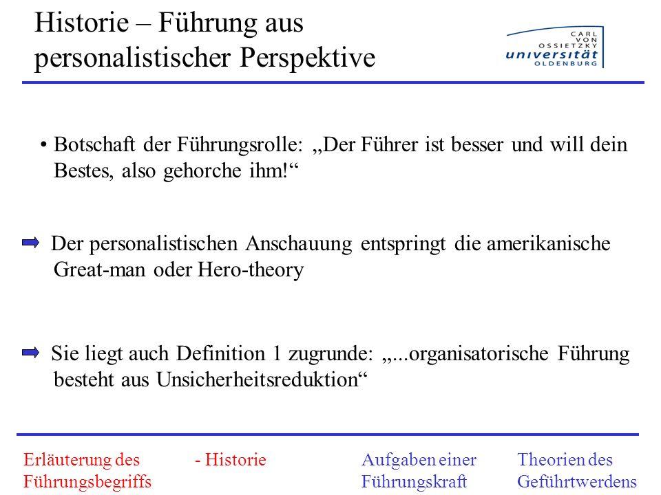 Historie – Führung aus sozial-dynamischer Sicht Erläuterung des Führungsbegriffs - HistorieAufgaben einer Führungskraft Theorien des Geführtwerdens 2.