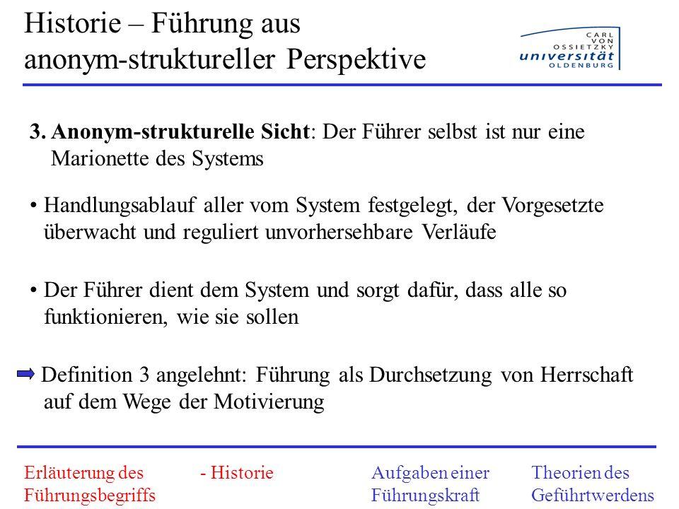 Historie – Zusammenfassung der Perspektiven 1.Personalistisch: Führer als Retter in der Not 2.