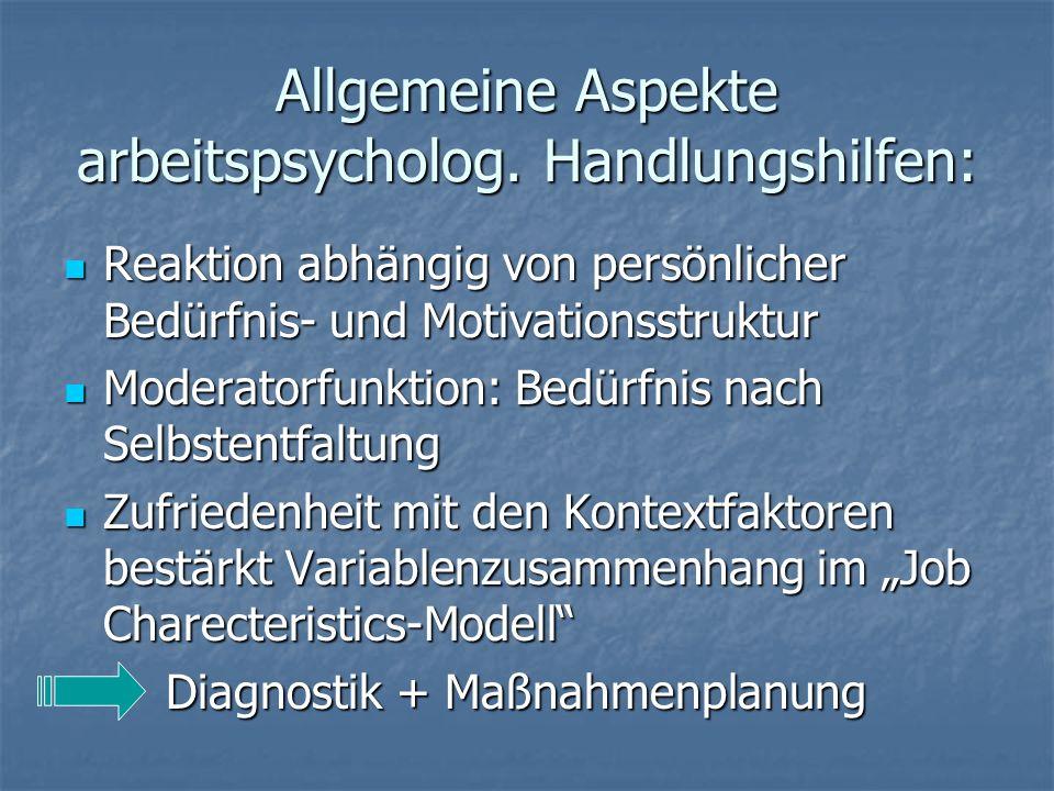 Allgemeine Aspekte arbeitspsycholog.