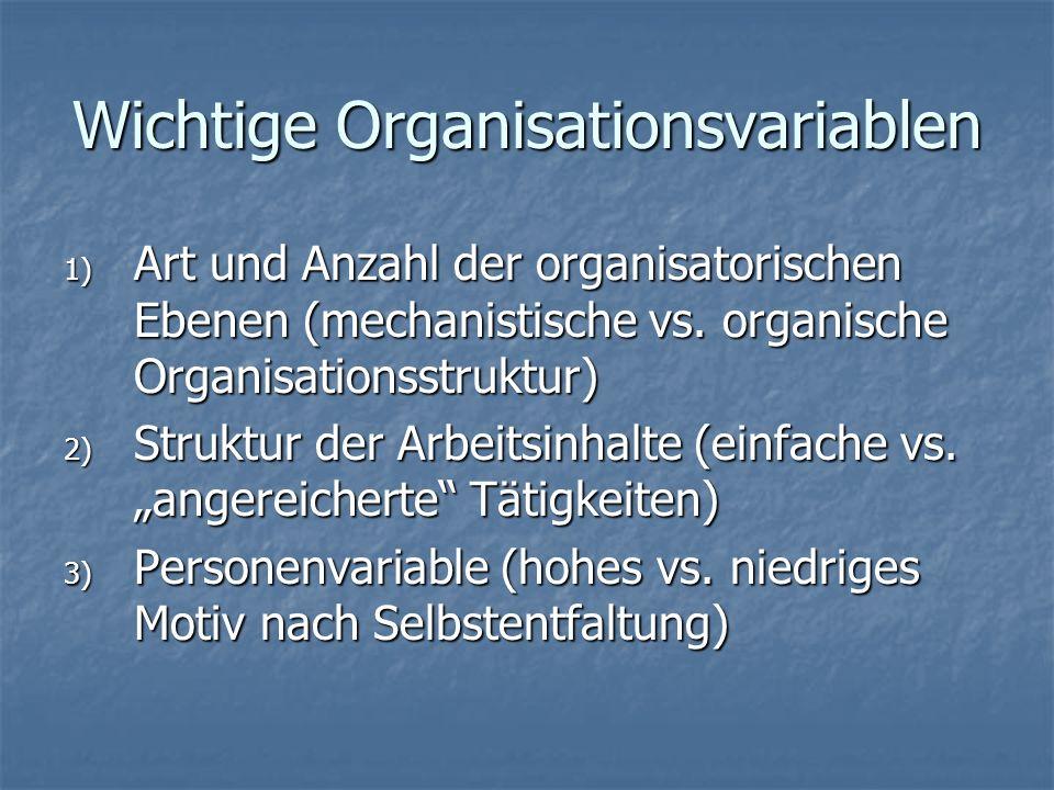 Wichtige Organisationsvariablen 1) Art und Anzahl der organisatorischen Ebenen (mechanistische vs.