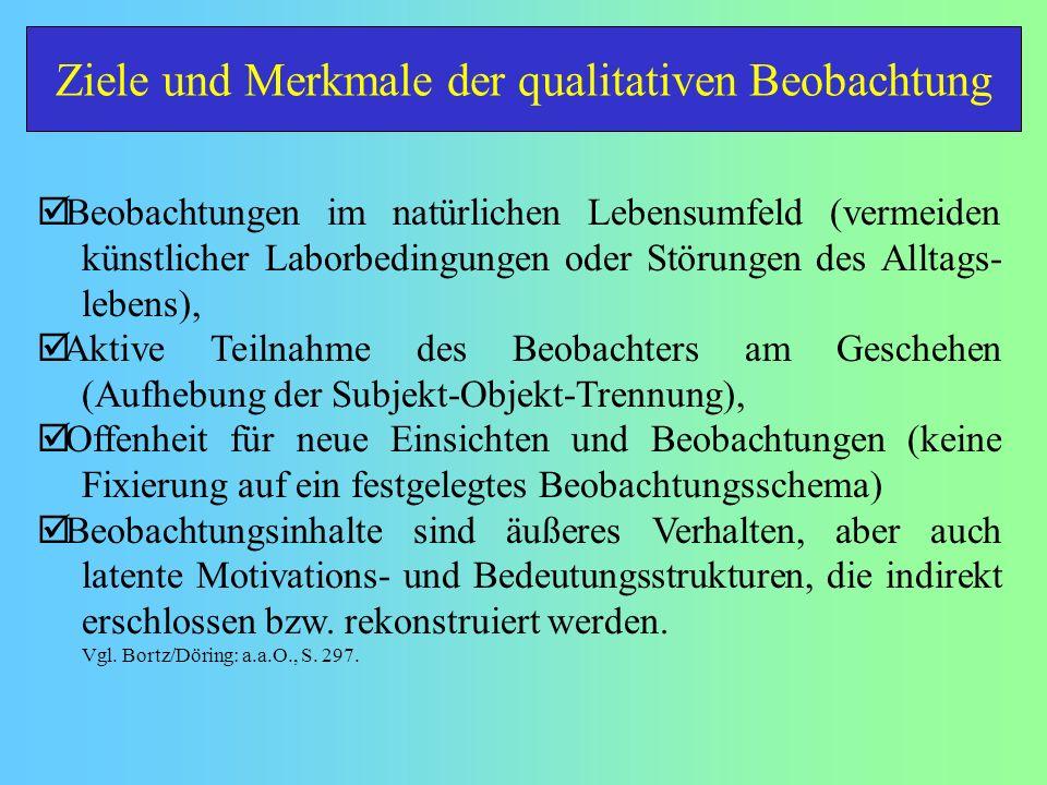 Ziele und Merkmale der qualitativen Beobachtung Beobachtungen im natürlichen Lebensumfeld (vermeiden künstlicher Laborbedingungen oder Störungen des A