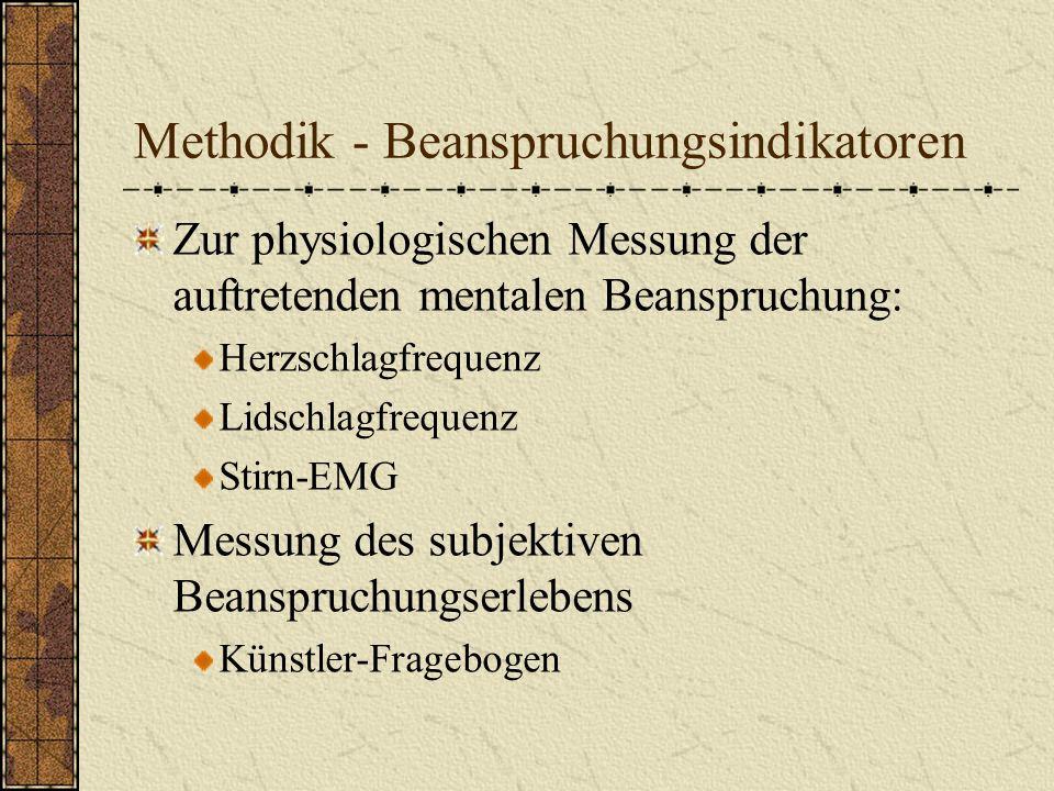 Methodik - Beanspruchungsindikatoren Zur physiologischen Messung der auftretenden mentalen Beanspruchung: Herzschlagfrequenz Lidschlagfrequenz Stirn-E