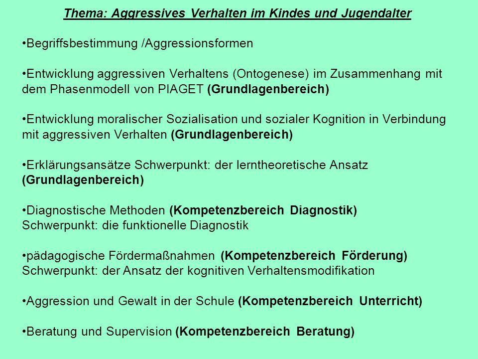 Thema: Aggressives Verhalten im Kindes und Jugendalter Begriffsbestimmung /Aggressionsformen Entwicklung aggressiven Verhaltens (Ontogenese) im Zusamm