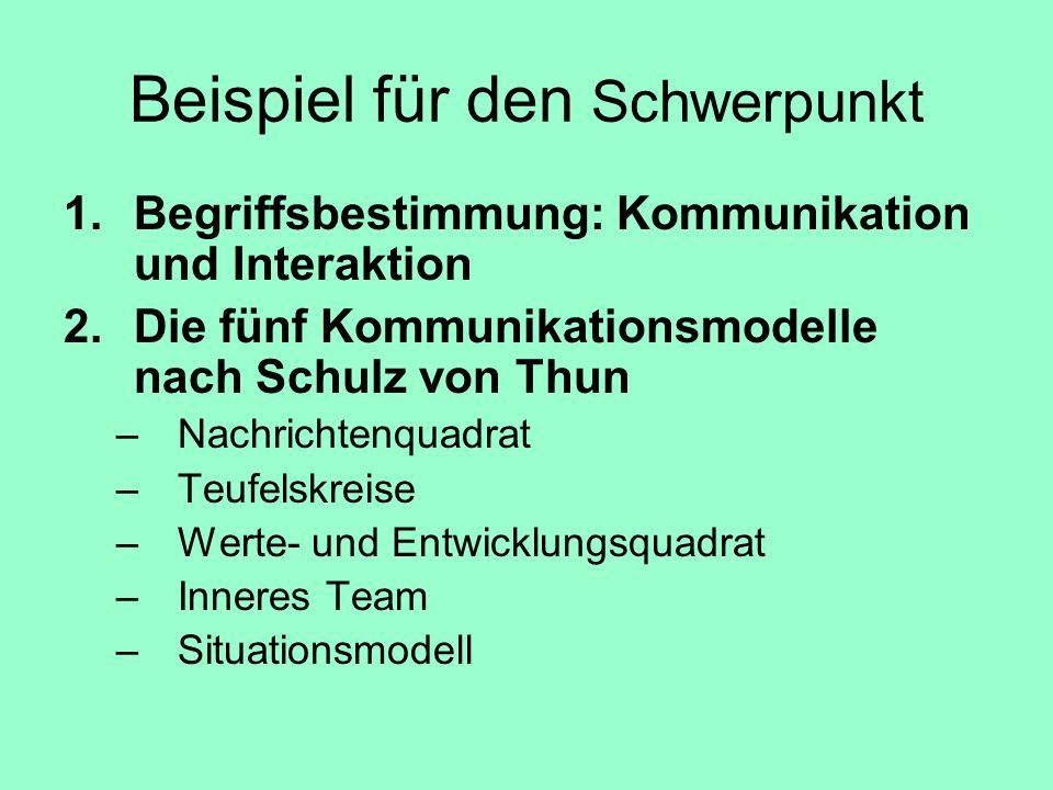 Beispiel für den Schwerpunkt 1.Begriffsbestimmung: Kommunikation und Interaktion 2.Die fünf Kommunikationsmodelle nach Schulz von Thun –Nachrichtenqua