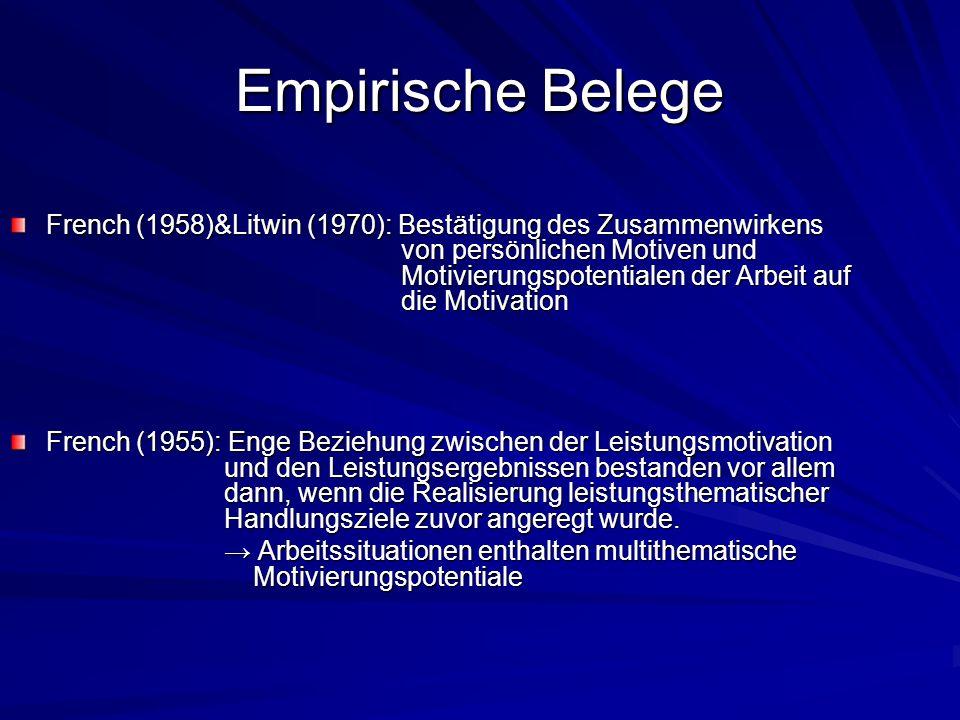 Empirische Belege French (1958)&Litwin (1970): Bestätigung des Zusammenwirkens von persönlichen Motiven und Motivierungspotentialen der Arbeit auf die